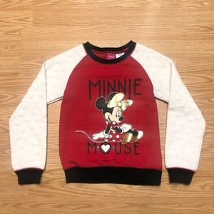 Disney Girls Large Minnie Mouse Heart Crewneck